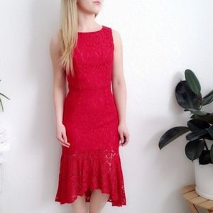Lulus Red Lace High Low Mermaid Cocktail Dress 714